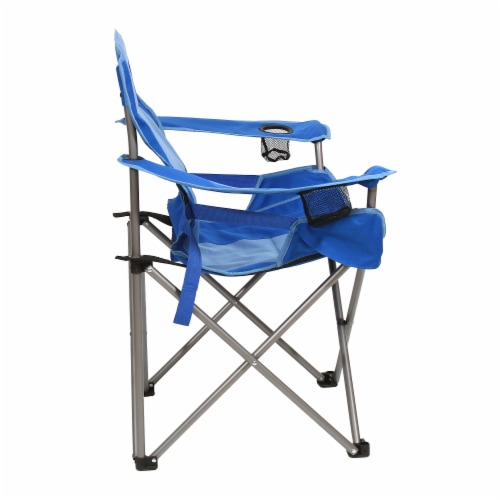 Kamp Rite Padded Folding Camp Chair w/Lumbar Support & Cupholders, Blue Perspective: top