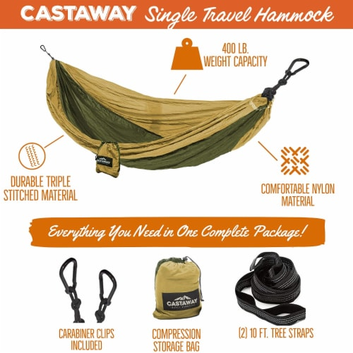 Castaway Hammock Single Olive/Khaki Perspective: top