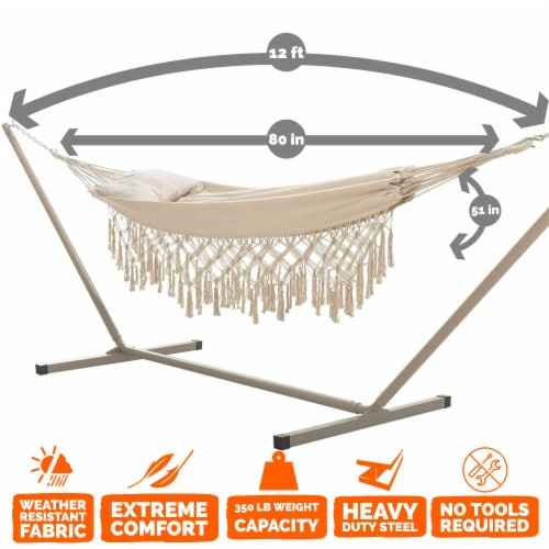 Castaway Hammock Single Layer Finge with Pillow Perspective: top