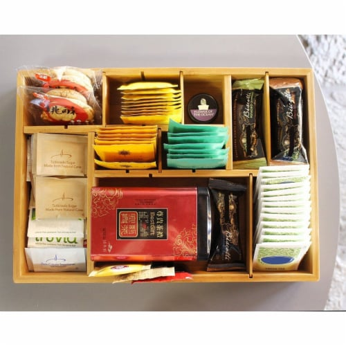 "Kitchen Drawer Bamboo Organizer with Removable Dividers for Cutlery 14 x 10 x 2"" Perspective: top"