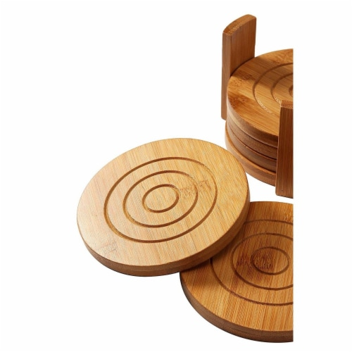 "6-Pack Set Bamboo Wooden Coaster with Holder, Round Cup Coasters, Tan, 4.3"" Perspective: top"