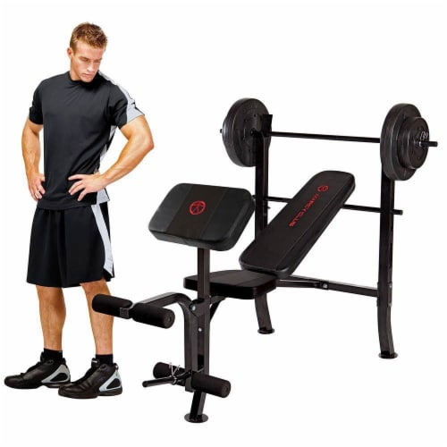 Marcy Pro Home Gym Standard Weight Training Bench with 80 Pound Weight Set Perspective: top