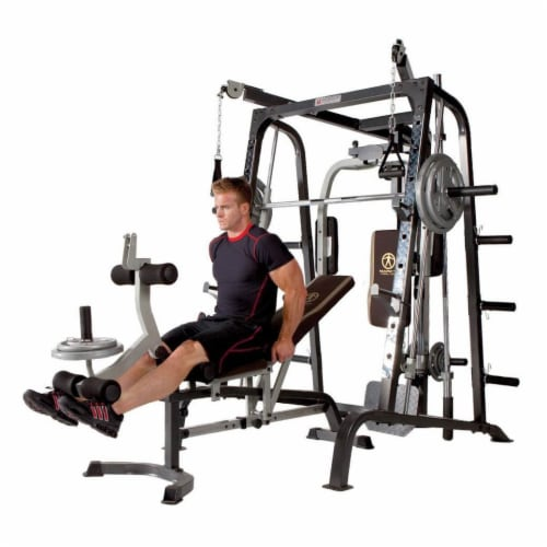 Marcy Deluxe Diamond Elite Smith Cage Home Workout Machine Total Body Gym System Perspective: top