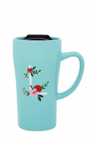 PMI Worldwide Monogram Latte Mug - Blue Perspective: top