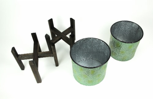 Set of 2 Green Leaf Pattern Stamped Metal Planters With Wooden Stands Perspective: top