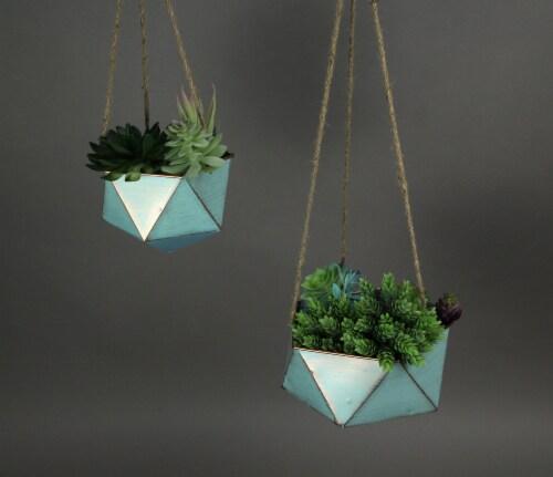 Set of 2 Blue Metal Geometric Hex Hanging Planters Decorative Plant Baskets Perspective: top