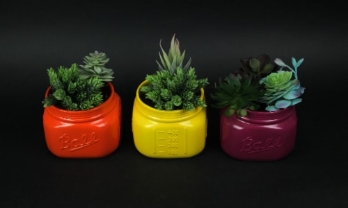 Set of 5 Bright Colorful Ceramic Ball Jar Mini Planters 4.5 Inches High Perspective: top