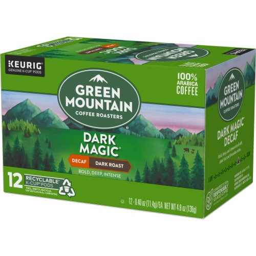 Green Mountain Coffee Roasters Decaf Dark Magic Dark Blend K-Cup Pods Perspective: top