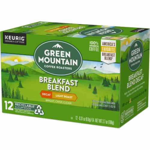 Green Mountain Coffee Decaf Breakfast Blend Light Roast Coffee K-Cup Pods Perspective: top
