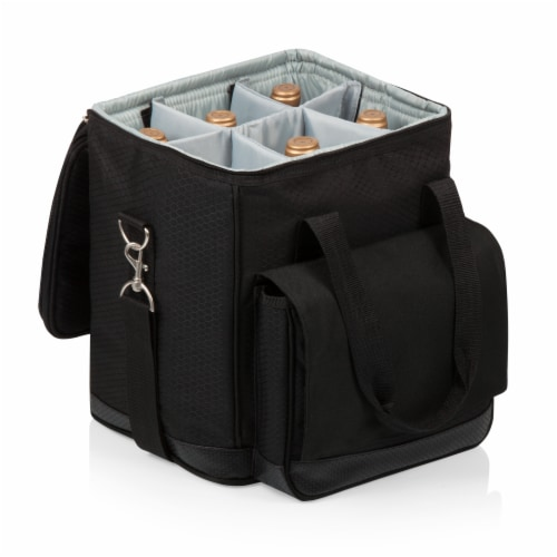 Cellar 6-Bottle Wine Carrier & Cooler Tote, Black with Gray Accents Perspective: top