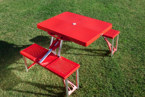 Picnic Table Portable Folding Table with Seats, Red Perspective: top