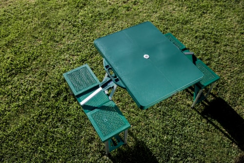 Picnic Table Portable Folding Table with Seats, Hunter Green Perspective: top