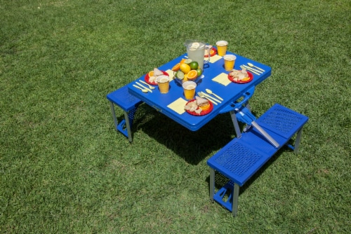 Picnic Table Portable Folding Table with Seats, Royal Blue Perspective: top