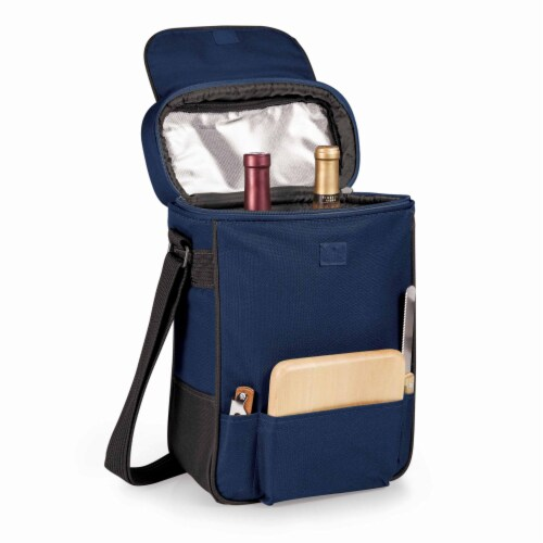 Duet Wine & Cheese Tote, Navy Blue Perspective: top