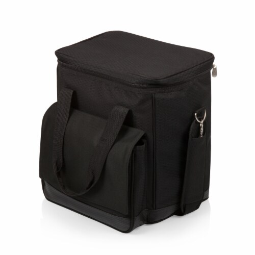 Cellar 6-Bottle Wine Carrier & Cooler Tote with Trolley, Black with Gray Accents Perspective: top