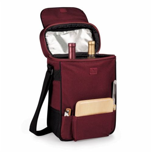 Duet Wine & Cheese Tote, Burgundy Perspective: top