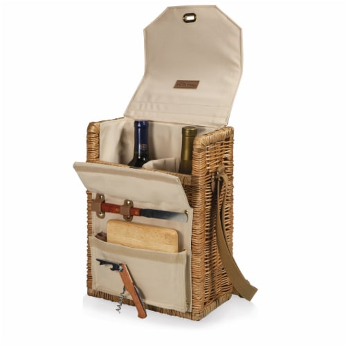 Corsica Wine & Cheese Picnic Basket, Beige Canvas Perspective: top
