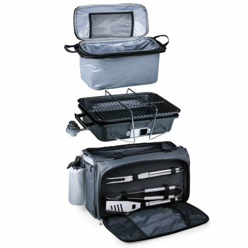 Vulcan Portable Propane Grill & Cooler Tote, Black with Gray Accents Perspective: top