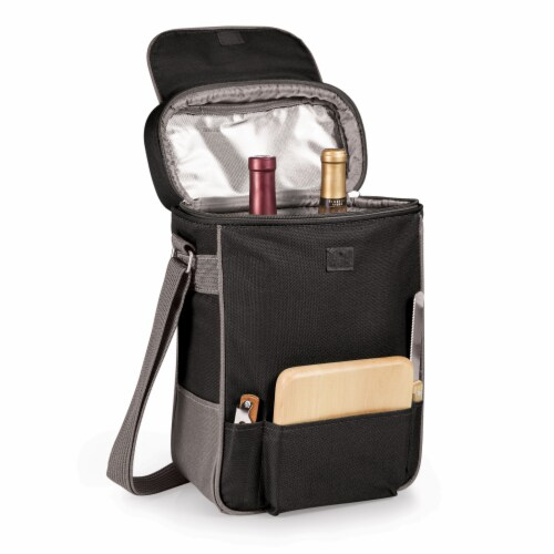 Duet Wine & Cheese Tote, Black with Gray Accents Perspective: top
