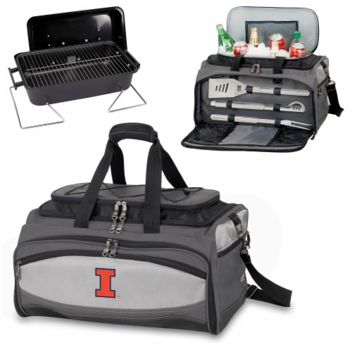 Illinois Fighting Illini - Portable Charcoal Grill & Cooler Tote Perspective: top