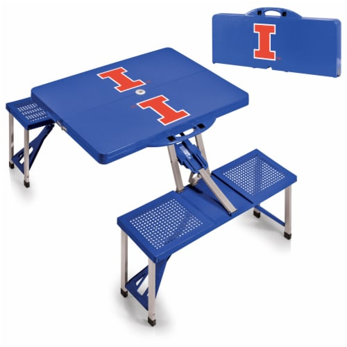 Illinois Fighting Illini - Picnic Table Portable Folding Table with Seats Perspective: top