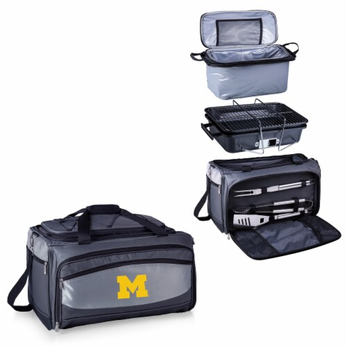 Michigan Wolverines - Portable Charcoal Grill & Cooler Tote Perspective: top