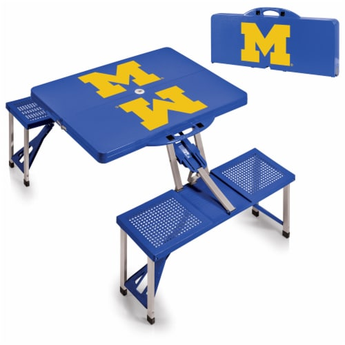 Michigan Wolverines - Picnic Table Portable Folding Table with Seats Perspective: top