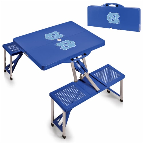 North Carolina Tar Heels - Picnic Table Portable Folding Table with Seats Perspective: top