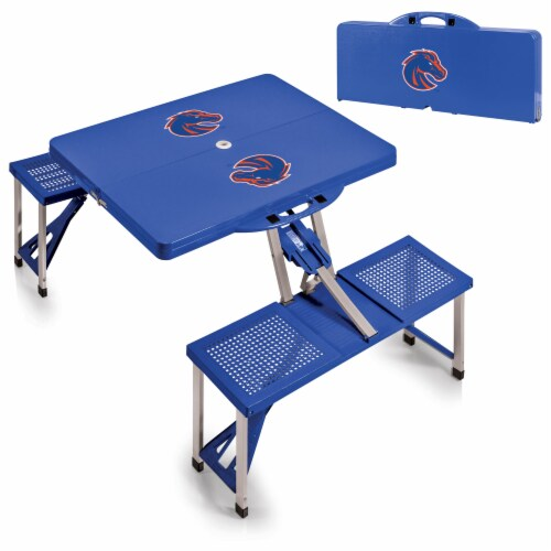 Boise State Broncos - Picnic Table Portable Folding Table with Seats Perspective: top