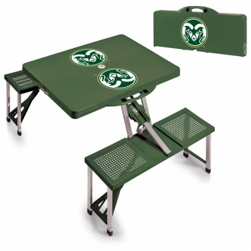 Colorado State Rams - Picnic Table Portable Folding Table with Seats Perspective: top