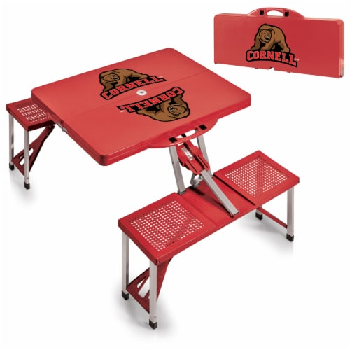 Cornell Big Red - Picnic Table Portable Folding Table with Seats Perspective: top