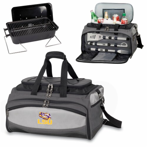 LSU Tigers - Portable Charcoal Grill & Cooler Tote Perspective: top