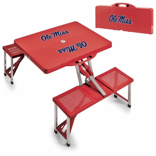Ole Miss Rebels - Picnic Table Portable Folding Table with Seats Perspective: top