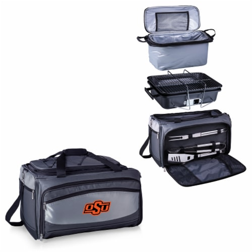 Oklahoma State Cowboys - Portable Charcoal Grill & Cooler Tote Perspective: top