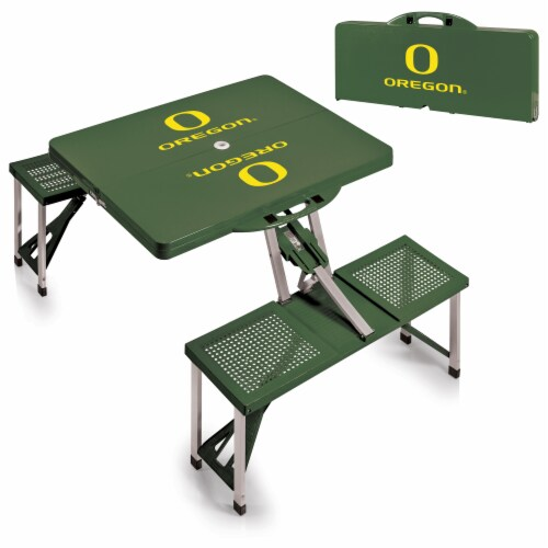 Oregon Ducks - Picnic Table Portable Folding Table with Seats Perspective: top