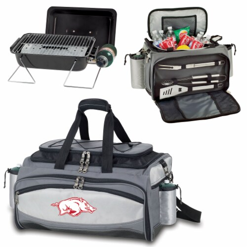 Arkansas Razorbacks - Vulcan Portable Propane Grill & Cooler Tote Perspective: top