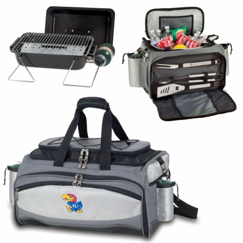 Kansas Jayhawks - Vulcan Portable Propane Grill & Cooler Tote Perspective: top