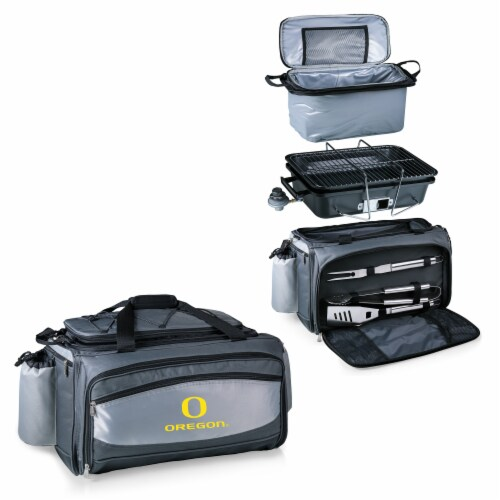 Oregon Ducks - Vulcan Portable Propane Grill & Cooler Tote Perspective: top