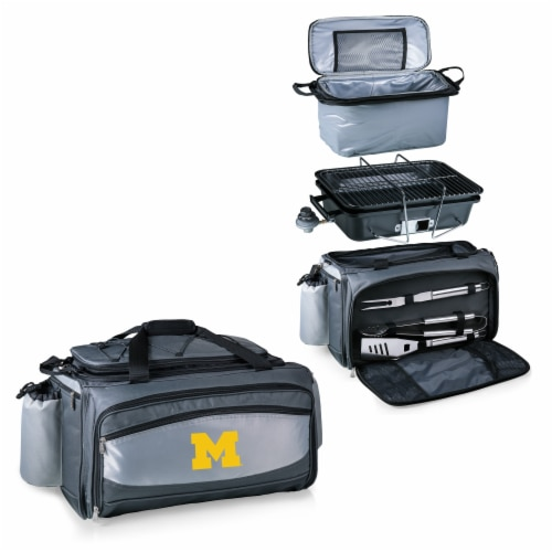 Michigan Wolverines - Vulcan Portable Propane Grill & Cooler Tote Perspective: top