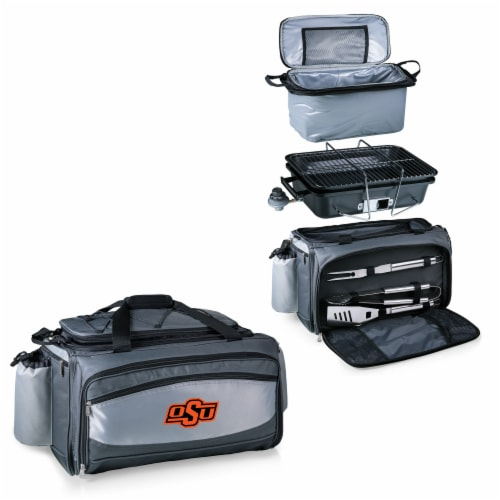Oklahoma State Cowboys - Vulcan Portable Propane Grill & Cooler Tote Perspective: top