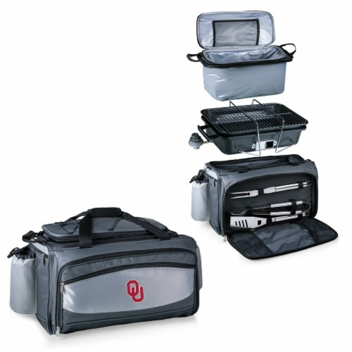 Oklahoma Sooners - Vulcan Portable Propane Grill & Cooler Tote Perspective: top