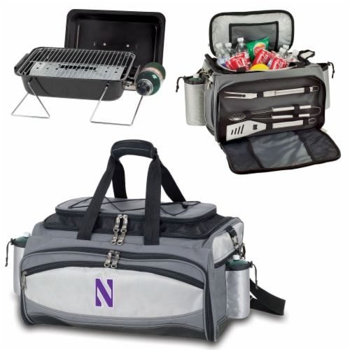 Northwestern Wildcats - Vulcan Portable Propane Grill & Cooler Tote Perspective: top