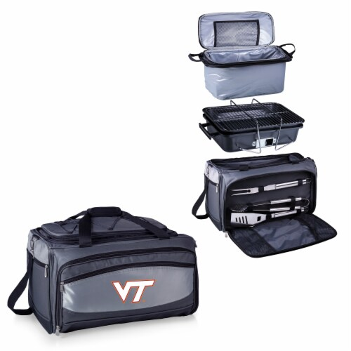 Virginia Tech Hokies - Portable Charcoal Grill & Cooler Tote Perspective: top