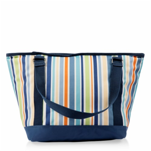 Topanga Cooler Tote Bag, Sky Blue with Multi Stripe Pattern Perspective: top