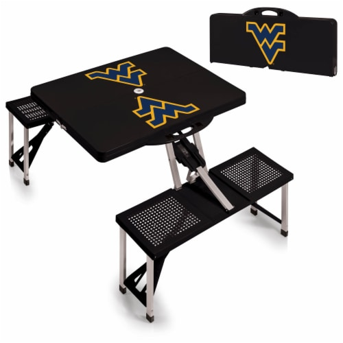 West Virginia Mountaineers - Picnic Table Folding Table with Seats Perspective: top