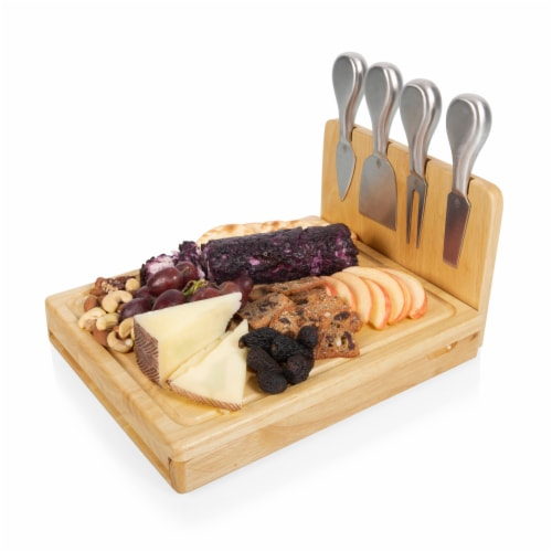 Asiago Cheese Cutting Board & Tools Set, Rubberwood Perspective: top