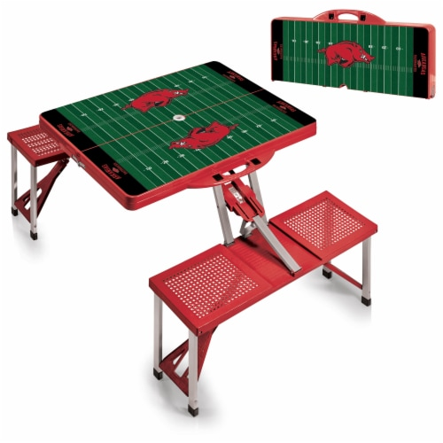 Arkansas Razorbacks - Picnic Table Portable Folding Table with Seats Perspective: top