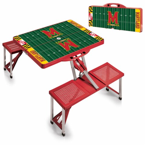 Maryland Terrapins - Picnic Table Portable Folding Table with Seats Perspective: top