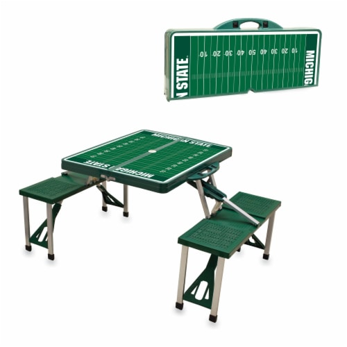 Michigan State Spartans - Picnic Table Portable Folding Table with Seats Perspective: top