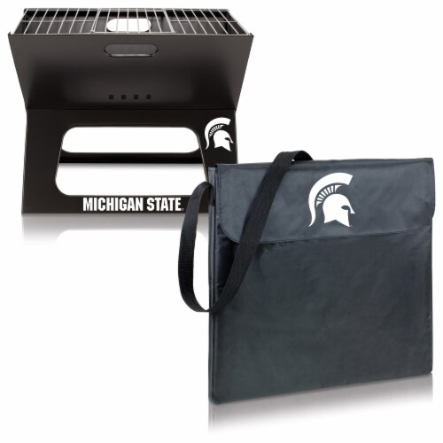 Michigan State Spartans - X-Grill Portable Charcoal BBQ Grill Perspective: top